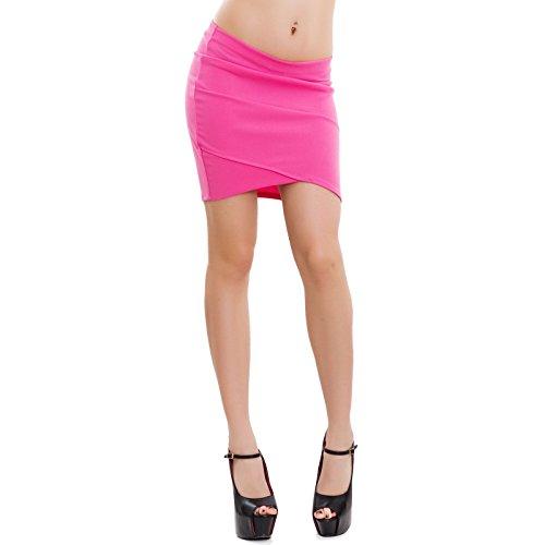 Toocool - Gonna donna minigonna asimmetrica elegante aderente elasticizzata sexy VB-2931 ROSA ACCESO