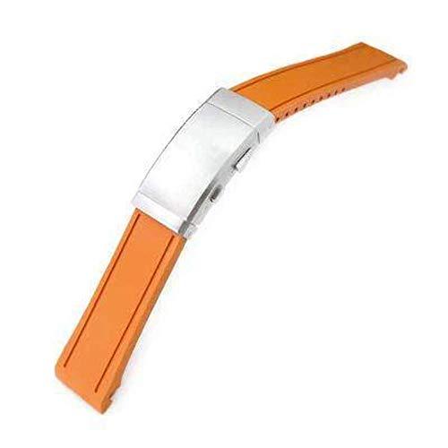 Strapcode Rubber Uhrenarmband 20mm Crafter Blau - Orange Rubber Curved Lug Uhrenarmband für Seiko MM300 Prospex Marinemaster SBDX001, Neoprenanzug-Ratschenschnalle