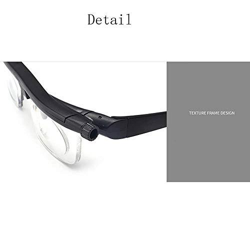 ZUZU Lesebrille Männer Frauen Myopie Objektiv Variable Vision Stärke Brille Zifferblatt Brille Korrektur Fernglas Schwarz Fokus Einstellbar