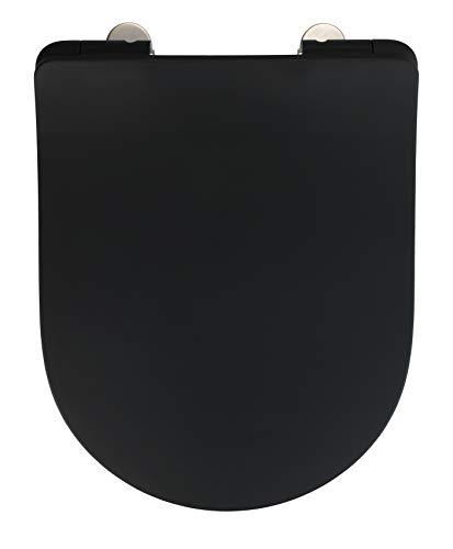 WENKO Premium WC-Sitz Sedilo matt Schwarz - Toiletten-Sitz, mit Absenkautomatik, rostfreie Fix-Clip Hygiene Edelstahlbefestigung, Soft-Touch Beschichtung, Duroplast, 36,2 x 45,2 cm, schwarz