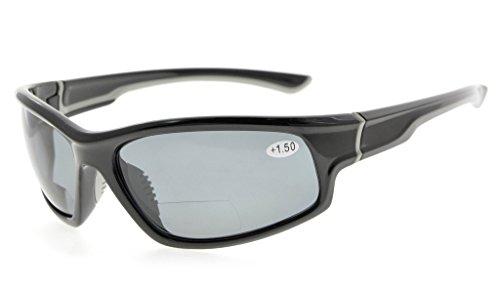 Eyekepper Sport Bifocal Lesebrille Polycarbonat Polarisierte Sonnenbrille TR90 Unzerbrechlicher Baseball Laufen Angeln Fahren Golf Softball Wandern(Schwarzer Rahmen/graues Linse,+ 2.00)