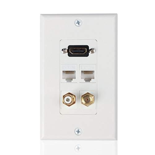 ForceSthrength HDMI Ethernet RJ45RCA Koaxial Wandplatte Buchse Einsatz Steckdose Abdeckplatte White Wall Plate Insert