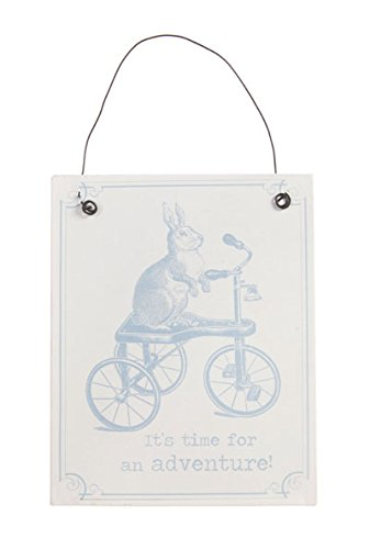 shabby-chic-mr-hare-rabbit-it-s-time-for-adventure-metal-sign-placca-da-appendere