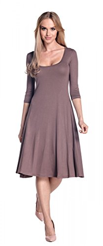 Glamour Empire. Donna Vestito svasato collo squadrata - abito maniche 3/4. 314 Cappuccino