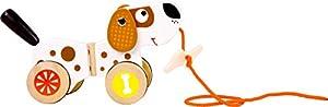 Small Foot by Legler-zieh Animales perro de madera, mueve divertido con orejas y caña, con un hueso en la cuerda, muy silencioso con anillos de goma en los neumáticos, Crédito Juguetes para pequeñas unidad principiantes