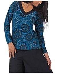 Aller Simplement - T-shirt femme en coton à manches longues col V Aller Simplement TS3002