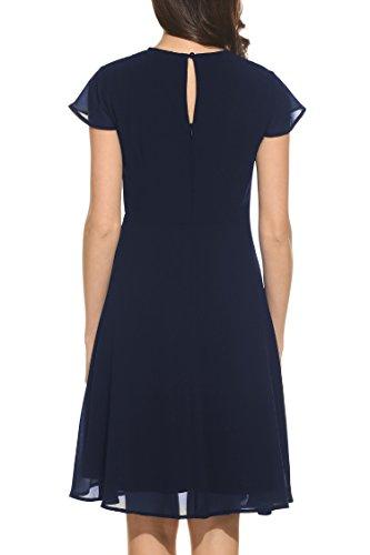 ... Zeagoo Damen Elegant Chiffonkleid Sommerkleid Partykleid Hochzeit Festliches  Kleid A Linie Kurzarm Knielang Blau ... c51f3cf310