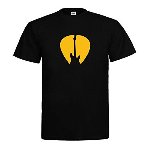 MDMA T-Shirt Gitarre Symbol Plektrum N14-mdma-t00667-13 Textil black / Motiv gelb Gr. L (Symbol T-shirt Gelb)