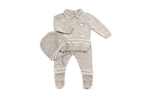 Eva Kostüm Neun - Baby Set Jungen | Mütze & Strickanzug | feinster Wolle Mix | Hose Pullover Kostüm | Häubchen Haube | 2 Farben 4 Größen | (9, Beige Braun)