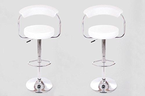 2x Taburete de bar blanco cuero artificial giratorio ajustable en altura acolchado