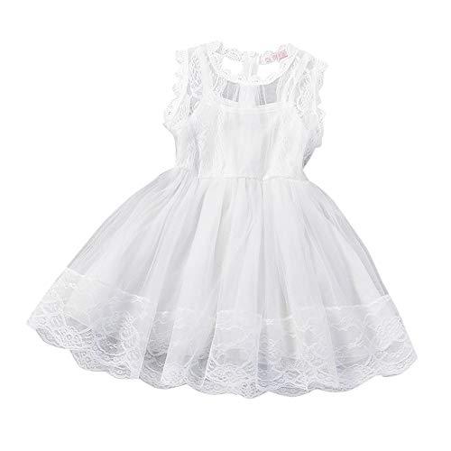 Baby Mädchen Prinzessin Kleider, ärmellose Knospe Seide Gaze Pettiskirt Brautjungfer Pageant Spitze Blume Tutu Tüll Kleid Party Hochzeit Tragen(T-Weiß,120)