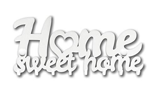 M-KeyCases Home Sweet Home Wand-Organizer Schlüsselbrett (9-Haken) Dekorativer Schlüssel-Board Hakenleiste Schlüsselleiste Vintage Decor Haus-tür Küche Fahrzeug-schlüssel Aufhänger Weiss (Magnetische Haken Bild Aufhänger)