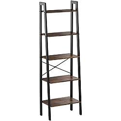 VASAGLE Étagère Vintage en escalier, Bibliothèque à 5 niveaux, Rangement, avec cadre métallique, pour Salon, Cuisine, Vintage, Noire LLS45X