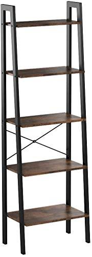 VASAGLE Vintage Standregale, Bücherregal mit 5 Ablagen, mit Metallrahmen, einfache Montage, fürs Wohnzimmer, Schlafzimmer, Küche, 56 x 172 x 34 cm (B x H x T) LLS45X, stöckig