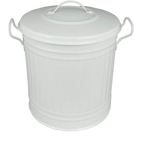 HRB Mülleimer Zink, Vintage Design, sehr stabil, Größen (Weiß, 15 Liter)