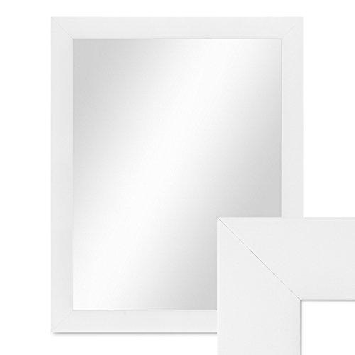 PHOTOLINI Wand-Spiegel 48x58 cm Schlicht Modern Weiss/Spiegelfläche 40x50 cm