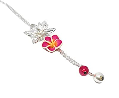 Collier sautoir fleur de tiaré et perle, style bohème, cadeau fête des grand mères, fête des mères, anniversaire, saint valentin, noël, maîtresse, pâques, cadeau personnalisé