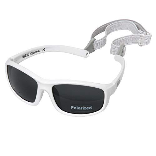 Twinklebelle Design Inc. Baby und Kleinkind Polarisierte Sonnenbrille mit Band, 100% UV Schutz (Mittel: 6 Monate - 6 Jahre, Cooles Weiß)