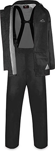 normani Wasserdichter Regenanzug, Regenkombi aus Regenjacke und Regenhose mit Hosenträger - Unisex Farbe Schwarz Größe S