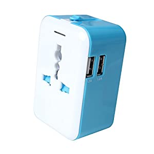 Universal All in One Worldwide International Adapter/Travel Power Plug Wall AC Adapter Charger with Dual USB Charging Ports for US/EU/UK/AU, LG G6, Samsung Galaxy S8 / S8+ S8 Plus (blue)