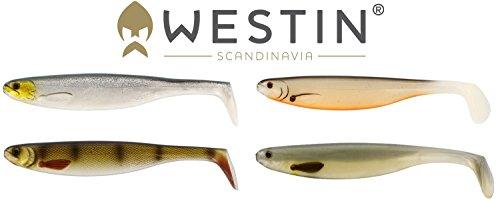Westin Set - 4 ShadTeez Gummifische 22cm, Kunstköder zum Raubfischangeln, Shads zum Zanderangeln, Hechtangeln, Hechtköder, Gummifisch