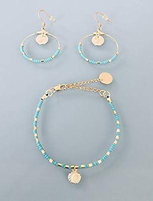 Parure coquillage femme gourmette et créoles en perles et plaqué or 24 k, bracelet doré, bracelet coquillage, bijoux cadeaux, idée cadeau, bijou coquillage, parure bijoux