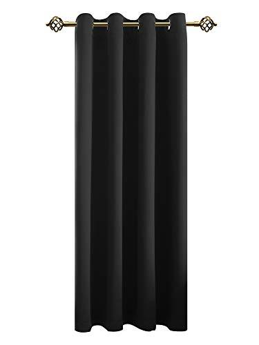 FLOWEROOM Vorhänge Blickdicht Verdunklungsgardine mit Ösen für Wohnzimmer Kinderzimmer, Geräuschreduzierung Wärmeschutz Thermo-Lichtundurchlässige Ösengardine Schwarz 245x140cm(HxB), 1 Stück -