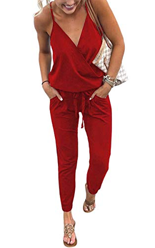 Ecowish  Jumpsuit lang mit Wickeloberteil – rot
