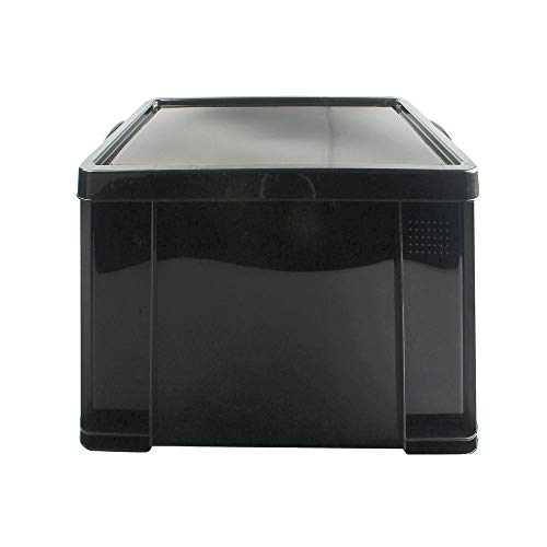 Really Useful 84L Kunststoff-Aufbewahrungsbox (recycelt, robust, stapelbar, 84 Liter, BxTxH 444 x 710 x 380 mm) schwarz [IMPORT]