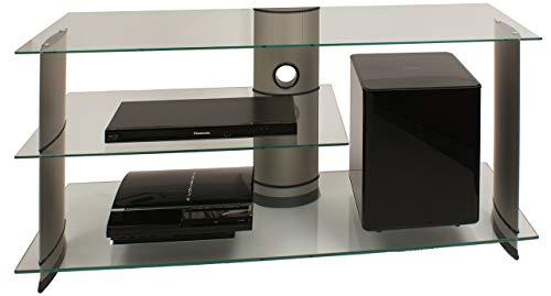 VCM TV Rack Lowboard Konsole Fernsehtisch LCD LED Möbel Bank Glastisch Tisch Schrank Aluminium Glas Silber