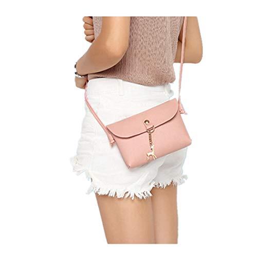 Handtaschen Damen FORH Neue Umhängetasche Vintage Small Deer Pendant Shoulder Bag PU-Leather Crossbody Schultertasche Tote Geldbörse (Rose) - Passport Travel Tote