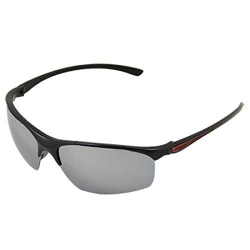 DealMux Unisex Kunststoff halb Rand Brillen Spiegel-Objektiv-Sonnenbrille