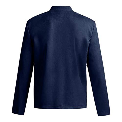 Yvelands Herren Bluse Herbst Winter reißverschluss schlank Langarm Anzug Jacke Trenchcoat top (Marine,CN-L)