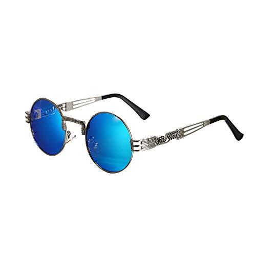 Aroncent Unisex Retro Rund Polarisierte Sonnenbrille, Vintage Silber Metallrahmen mit blau Linsen Brille für Herren Damen