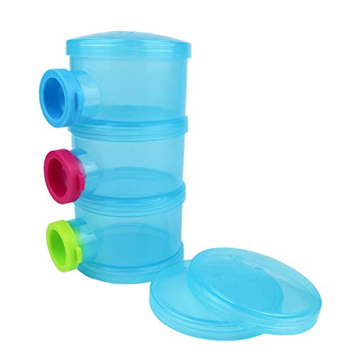 3 Cup Container (Basilic Baby Milk Powder Formula Dispenser Snack Container Cup - 3 Compartment (blue))