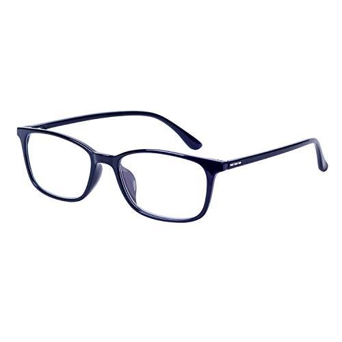Lesebrillen für Herren Damen +1.50 Anti Blaulicht Computer Lesebrille Schwarz Rechteck TR90 Flexibel Rahmen mit Brillenetuis