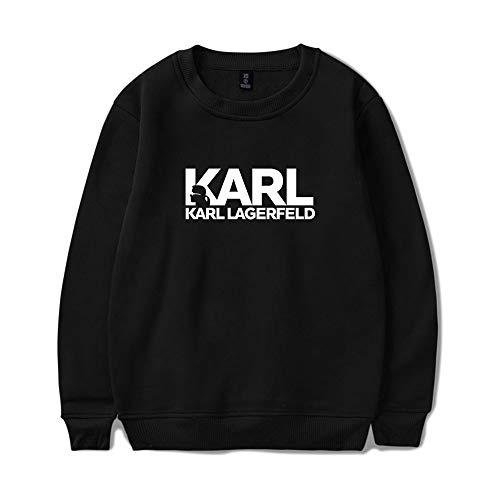 INSTO Sweatshirt Karl Lagerfeld Gedruckt Sweatshirt Beiläufig Lose Kapuzenpullover Unisex Tragen Gemütlich/Schwarz/M