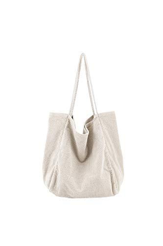 Howoo Damen Groß Cord Retro Schultertasche Beiläufig Handtasche Mode Einkaufstasche Beige -