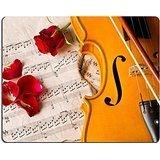 luxlady Gaming Mousepad Bild-ID: 21710029Violine Noten und Rose schwarz Zusammensetzung Still Life Musik