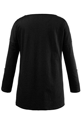 Ulla Popken Femme Grandes tailles T-shirts Coton - Manches longues - Hauts Col rond Blouse Tops 707590 Noir