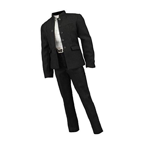 MagiDeal 1:6 Herren Chinesische Tunika Kleidung Set Jackett Hose Hemd Hüftgurt, Baumwolle, Figuren Anzug - Schwarz (Tunika-anzug)