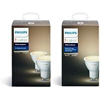 Philips Hue Lot de 3 Ampoules connectées White Ambiance GU10 - Fonctionne avec Alexa