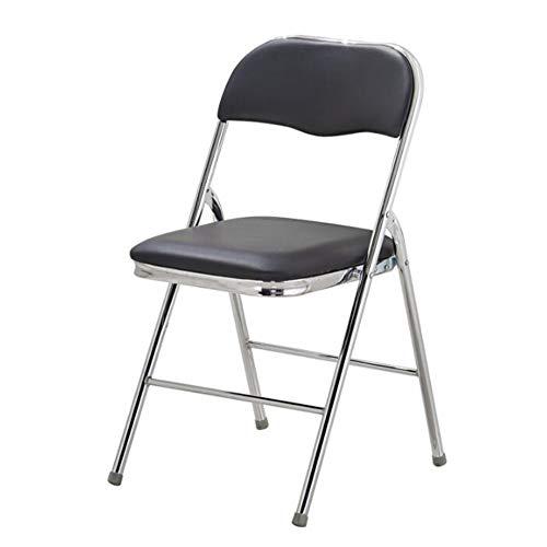 WGXX Klappstuhl Falten Stuhl Mit Leder Bewirken Sitz Und Silber Pulver Beschichtet Rahmen Schwarz Blau Braun Rot (Farbe : Schwarz) -