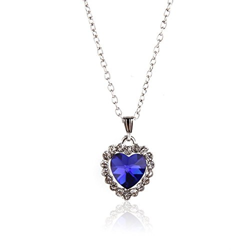 Young & Forever ♥♥ Valentine Gifts Special ♥♥ Valentine Titanic Inspired Blue Sapphire Heart Pendant Necklace For Women By CrazeeMania  available at amazon for Rs.399