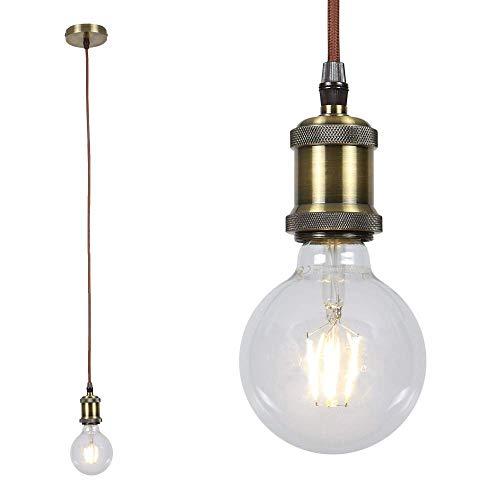 Leuchtenpendel E27 -Textilkabel braun | Hängeleuchte Metall Antik altmessing 6W LED Globe | Pendellampe 230V 550lm 2700K | Hängelampe + LED-Leuchtmittel (Antike Leuchtmittel Globe)