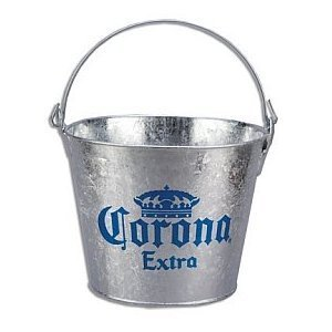 Corona Extra Galvanized Beer Bucket W/Built-In Bottle Opener by Corona