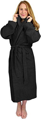 Circle Five Damen Bademantel, Sauna-Mantel, Morgenmatel aus 100% Baumwolle Oeko-Tex 100 [Gr. XS-4XL] Farbe Schwarz Größe XXL