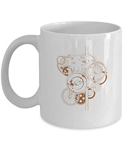 LUOBOGAN Steampunk Coffee Cup - Mechanical Engineer Gifts - 11 oz Ceramic Mug