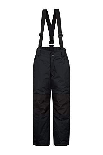Mountain Warehouse Raptor Skihose für Kinder - Taschen, schneedichte Hose, abnehmbare Träger & Reißverschluss am Knöchel, Verstärkte Knie - Ideal für Jungen und Mädchen Schwarz 128 (7-8 Jahre)