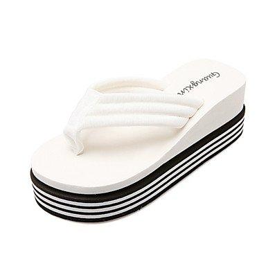 zhENfu donna pantofole & amp; flip-flops Primavera Estate Liane Comfort Novità materiali personalizzati Office & amp; Carriera Abbigliamento Sportivo tacco piatto White
